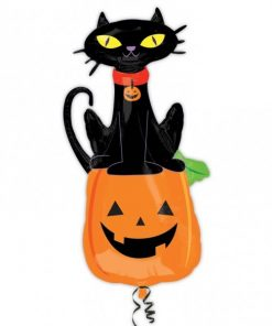Halloween Black Cat on Pumpkin Foil Balloon