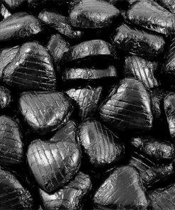 Black Foil Chocolate Hearts - Bulk Pack