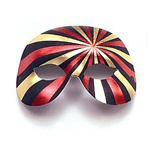 Black, Gold & Red Domino Masquerade Mask