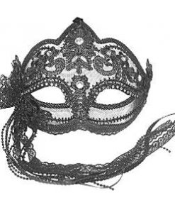 Black Lace Masquerade Mask with Side Flower