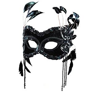 Black Velvet Masquerade Mask with Feathers (half face)