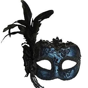 Blue Masquerade Mask with Side Feathers