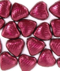 Burgundy Foil Chocolate Hearts
