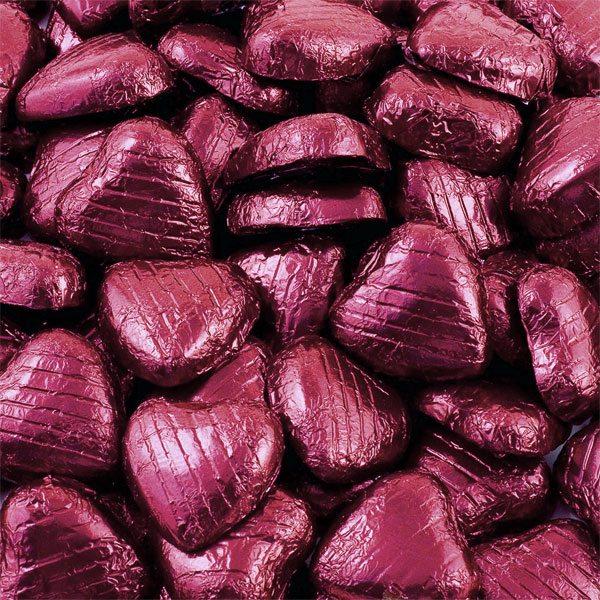 Burgundy Foil Chocolate Hearts - Bulk Pack