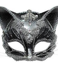 Cat Jewelled Masquerade Black & Silver Mask