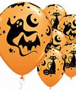 Halloween Fun & Spooky Characters Orange Printed Latex Balloons