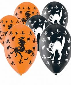 Halloween Cats & Witches Printed Latex Balloons