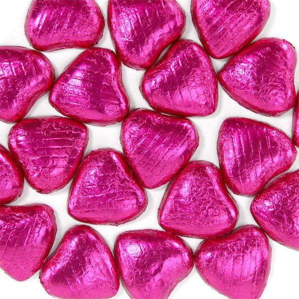 Cerise Foil Chocolate Hearts