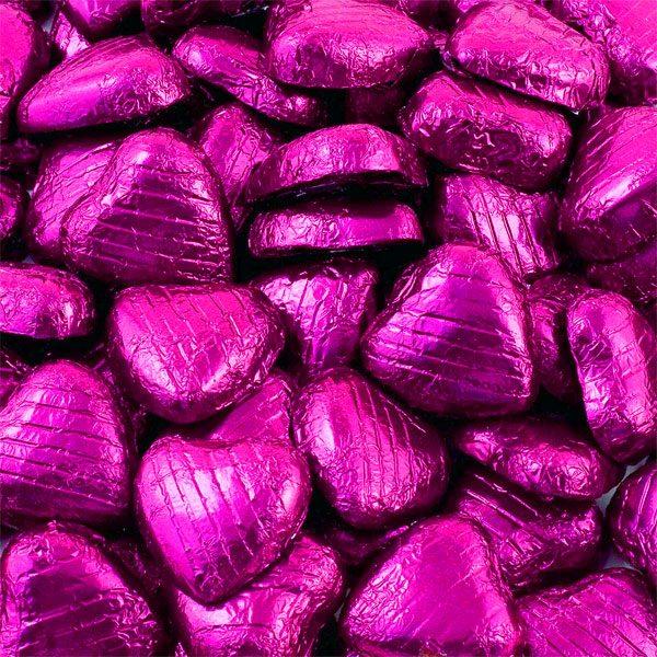 Cerise Foil Chocolate Hearts - Bulk Pack