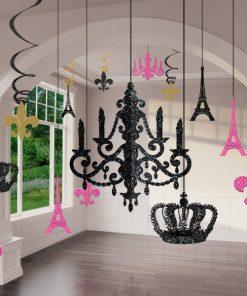Day In Paris Party Glitter Chandelier Decoration Kit