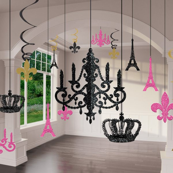 Day In Paris Party Glitter Chandelier Decoration Kit