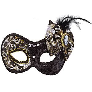Fancy Dress Accessories Black Victorian Style Mask with Cameo