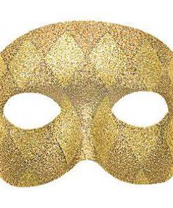 Gold Harlequin Domino Mask
