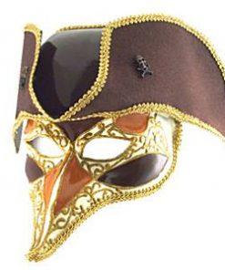 Gold Highwayman Venetian Mask & Hat