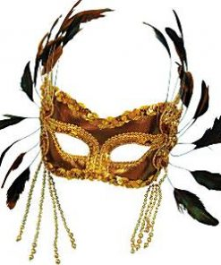 Gold Velvet Masquerade Mask with Feathers