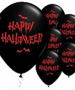 Happy Halloween Haunted Bats Printed Latex Balloons