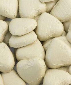 Ivory Foil Chocolate Hearts - Bulk Pack