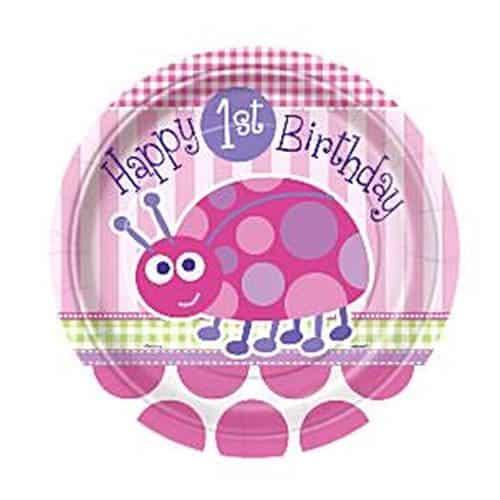 Ladybug 1st Birthday Paper Dessert Plates