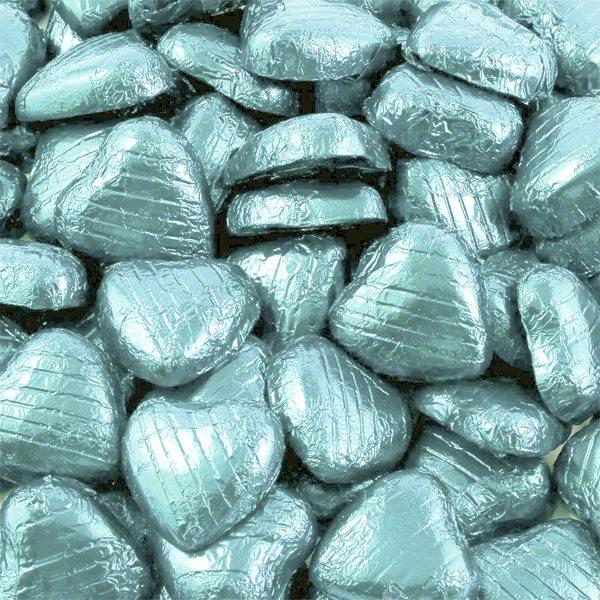Light Blue Foil Chocolate Hearts - Bulk Pack