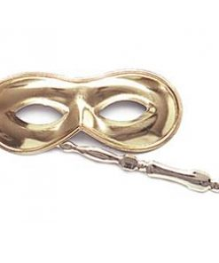 Gold Domino Masquerade Mask on Stick