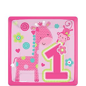 Wild at One Girl's 1st Birthday Party Paper Square Plate - 26cm