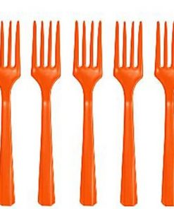 Orange Party Plastic Forks