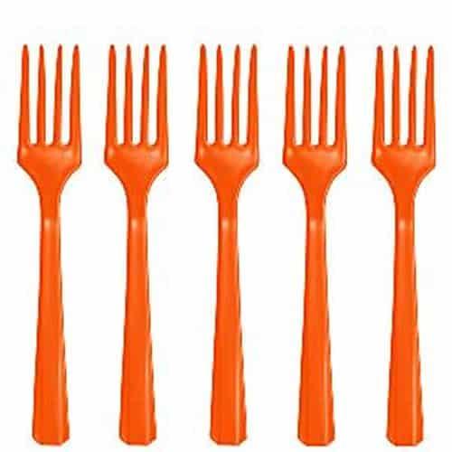 Orange Party Plastic Forks