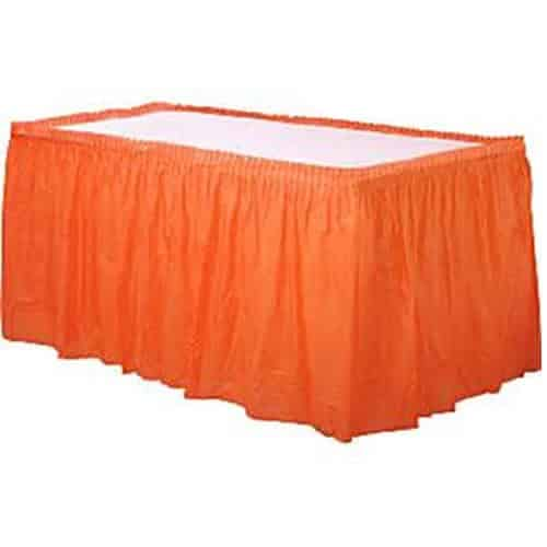 Orange Party Plastic Tableskirt