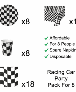Black /& White Checked Picks 50 Pack Car Racing Birthday Party Decoration