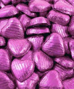Pink Foil Chocolate Hearts - Bulk Pack