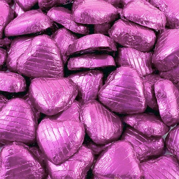 Pink Foil Chocolate Hearts - Bulk Pack