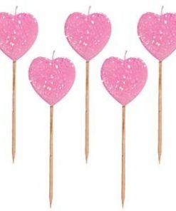 Pink Glitter Heart Pick Candles