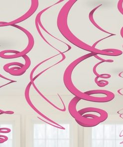 Pink Party Hanging Swirl Decorations