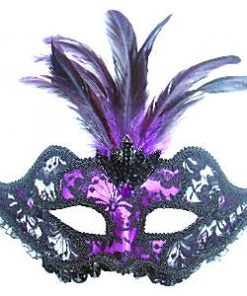 Purple & Black Masquerade Mask with Feathers