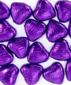 Purple Foil Chocolate Hearts