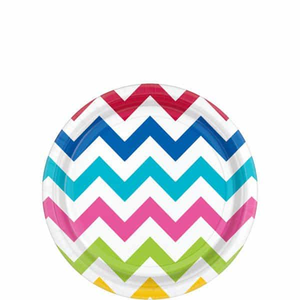 Rainbow Chevron Party Paper Dessert Plates