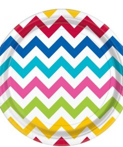 Rainbow Chevron Party Paper Plates