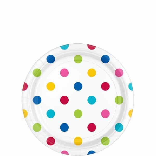 Rainbow Polka Dot Party Paper Dessert Plates