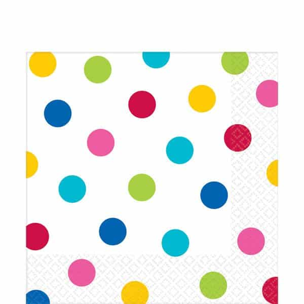 Rainbow Polka Dot Party Paper Napkins