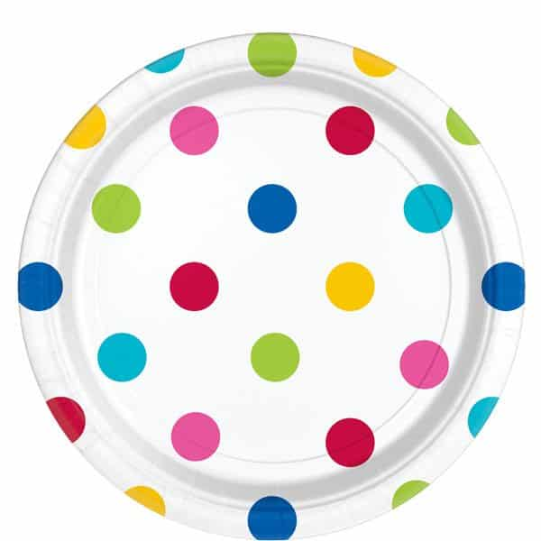 Rainbow Polka Dot Party Paper Plates
