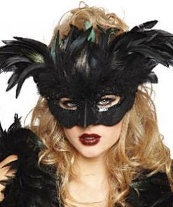Raven Fantasy Masquerade Mask with Feathers