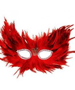 Red & Black Feather Masquerade Mask