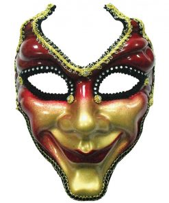 Red & Gold Jester Masquerade Mask