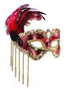 Red Masquerade Mask with Feathers