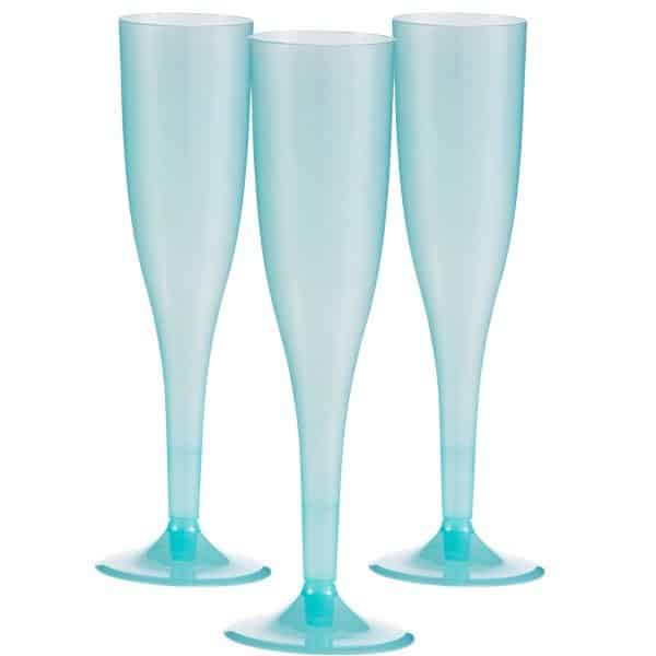 Robins Egg Blue Plastic Champagne Glasses