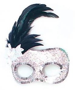 Silver Masquerade Mask with Side Feathers