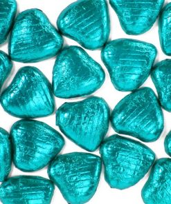 Turquoise Foil Chocolate Hearts