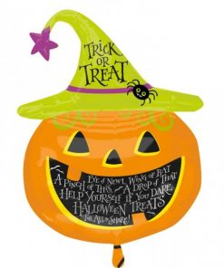 Halloween Witch Hat Pumpkin Supershape Foil Balloon
