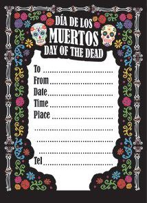 Day Of The Dead themed Party Invitations