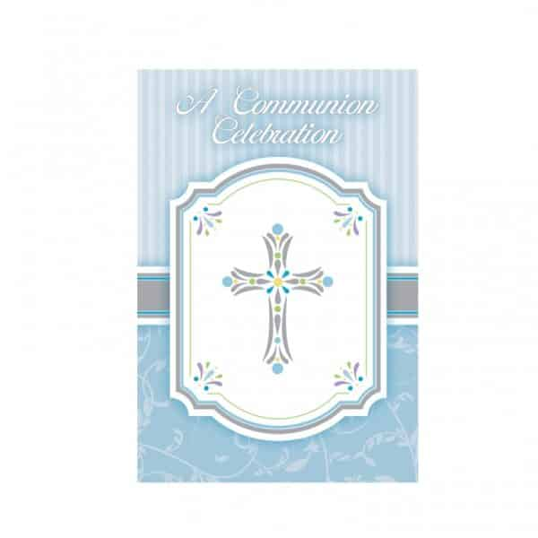 Holy Communion Blessings Blue Party Invitation Card